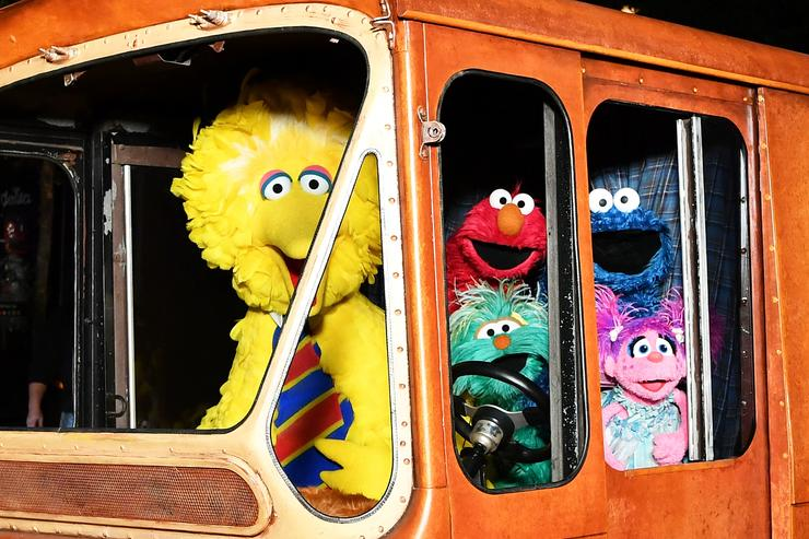 Sesame Street Characters (L-R) Big Bird, Elmo, Cookie Monster, and Abby Cadabby attend HBO Premiere of Sesame Street's The Magical Wand Chase at the Metrograph on November 9, 2017 in New York City.
