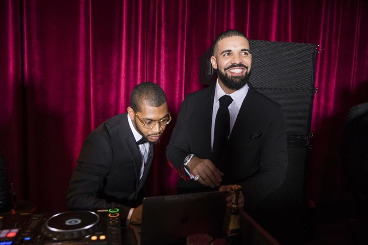 In this handout photo provided by Netflix, Drake (R) attends the Netflix Golden Globes after party at Waldorf Astoria Beverly Hills on January 7, 2018 in Beverly Hills, California.