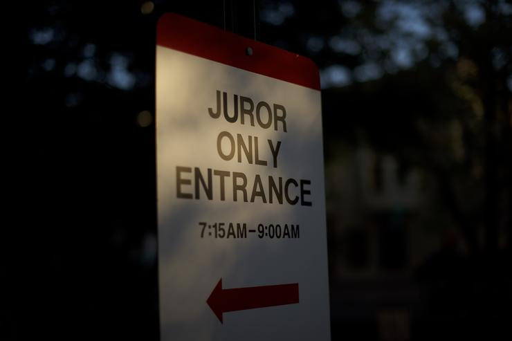 Morning light illuminates a 'Juror Only Entrance' outside the Montgomery County Courthouse before day fourteen of Bill Cosby's sexual assault retrial on April 26, 2018 in Norristown, Pennsylvania. The jury continues deliberations for the second day. A former Temple University employee alleges that the entertainer drugged and molested her in 2004 at his home in suburban Philadelphia. More than 40 women have accused the 80 year old entertainer of sexual assault.