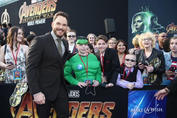Actor Chris Pratt (L) attends the Los Angeles Global Premiere for Marvel Studios' Avengers: Infinity War on April 23, 2018 in Hollywood, California