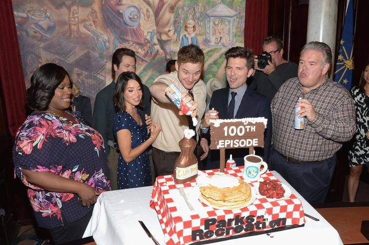 Marietta Sirleaf, Aubrey Plaza, Chris Pratt, Adam Scott and Jim O'Heir attend the NBC 'Parks And Recreation' 100th Episode Celebration at CBS Studios - Radford on October 16, 2013 in Studio City, California.