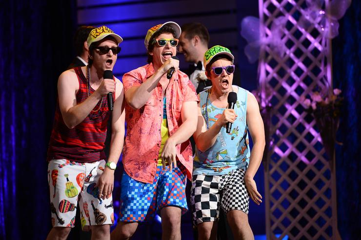 Actors/comedians Akiva Schaffer, Andy Samberg and Jorma Taccone of The Lonely Island perform during 'The Big Live Comedy Show' presented by YouTube Comedy Week held at Culver Studios on May 19, 2013 in Culver City, California.