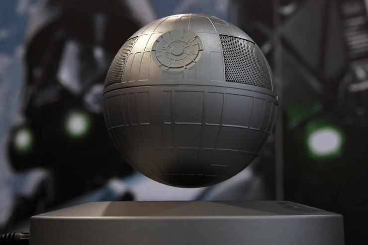 Plox's Star Wars Death Star Levitating Bluetooth Speaker is displayed at CES 2017 at the Sands Expo and Convention Center on January 5, 2017 in Las Vegas, Nevada. The USD 179, five-watt speaker rotates above a magnetic base providing 360 degrees of sound and five hours of continuous playback on Bluetooth. CES, the world's largest annual consumer technology trade show, runs through January 8 and features 3,800 exhibitors showing off their latest products and services to more than 165,000 attendees.