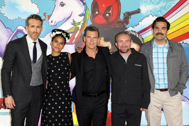 Ryan Renolds, Zazie Beetz, Josh Brolin, Eddie Marsden and Rob Delaney attend the 'Deadpool 2' photocall at Empire Casino Leicester Square on May 10, 2018 in London, England.