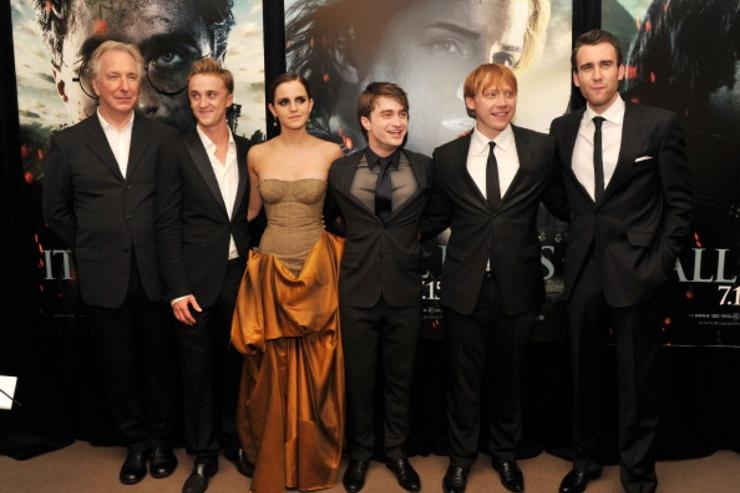 Alan Rickman, Tom Felton, Emma Watson, Daniel Radcliffe, Rupert Grint and Matthew Lewis attend the New York premiere of 'Harry Potter And The Deathly Hallows: Part 2' at Avery Fisher Hall, Lincoln Center on July 11, 2011 in New York City.