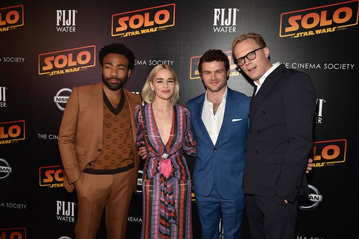 Actors Donald Glover, Emilia Clarke, Alden Ehrenreich and Paul Bettany attends FIJI Water with the Cinema Society host a screening of 'Solo: A Star Wars Story' at SVA Theater on May 21, 2018 in New York City.