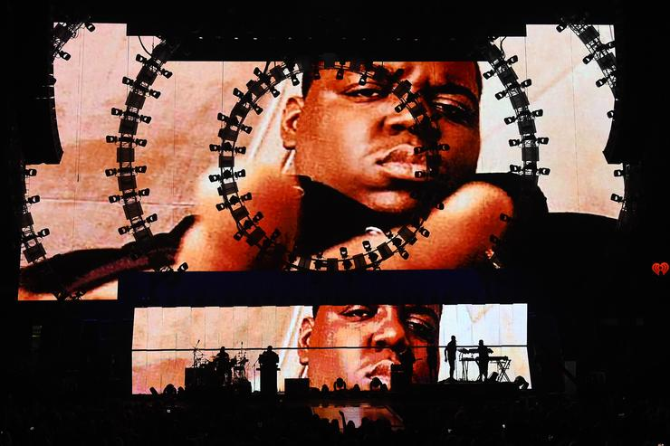 Images of the late rapper The Notorious B.I.G. are shown during a performance by recording artist Sean 'Puff Daddy' Combs at the 2015 iHeartRadio Music Festival at MGM Grand Garden Arena on September 19, 2015 in Las Vegas, Nevada.