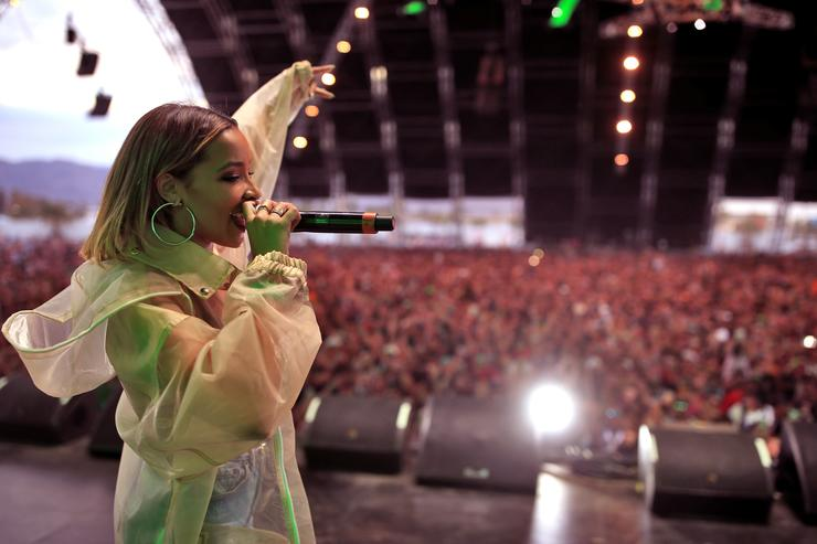 Tinashe performs with Snakehips onstage during the 2018 Coachella Valley Music And Arts Festival at the Empire Polo Field on April 21, 2018 in Indio, California