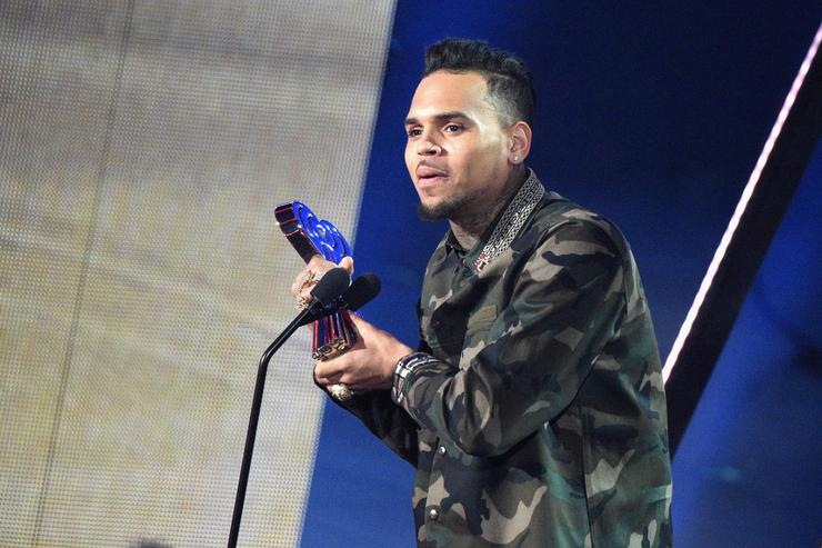 Chris Brown accepts the award for 'Best R&B Artist of the Year,' onstage at the iHeartRadio Music Awards which broadcasted live on TBS, TNT, AND TRUTV from The Forum on April 3, 2016 in Inglewood, California