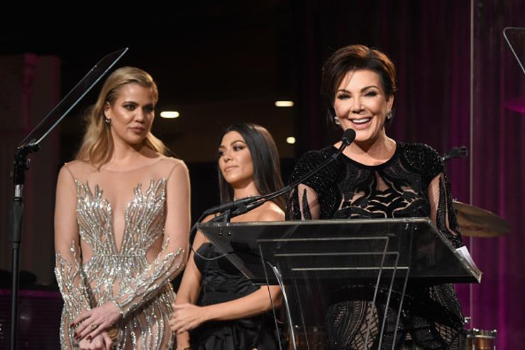 Khloe Kardashian, Kourtney Kardashian and Kris Jenner onstage at the 2016 Angel Ball hosted by Gabrielle's Angel Foundation For Cancer Research on November 21, 2016 in New York City.