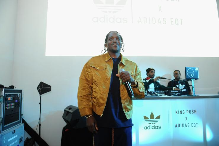 Pusha T attends the Launch Of Pusha T's Latest Collaboration With adidas Originals, KING PUSH X ADIDAS ORIGINALS EQT 'BODEGA BABIES' on October 26, 2017 in New York City.
