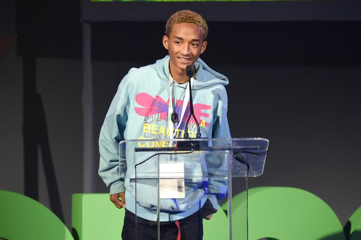 EMA Executive Board Officer Jaden Smith speaks onstage at the EMA IMPACT Summit at Montage Beverly Hills on May 21, 2018 in Beverly Hills, California.