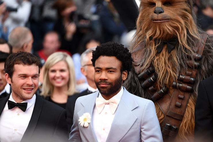 Actors Alden Ehrenreich, Donald Glover and Chewbacca attend the screening of 'Solo: A Star Wars Story' during the 71st annual Cannes Film Festival at Palais des Festivals on May 15, 2018 in Cannes, France.