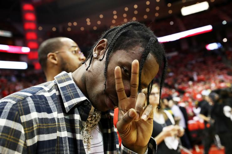 Music artist Travis Scott poses prior to Game Five of the Western Conference Finals of the 2018 NBA Playoffs between the Houston Rockets and the Golden State Warriors at Toyota Center on May 24, 2018 in Houston, Texas.