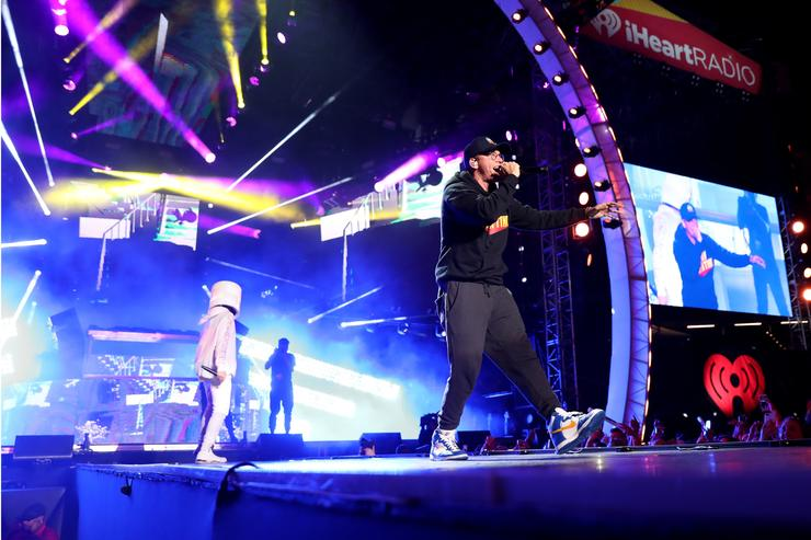 Marshmello and Logic perform onstage during the 2018 iHeartRadio Wango Tango by AT&T at Banc of California Stadium on June 2, 2018 in Los Angeles, California.