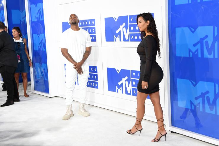 Kanye West and Kim Kardashian West attend the 2016 MTV Video Music Awards at Madison Square Garden on August 28, 2016 in New York City.