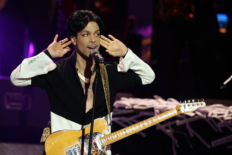 Musician Prince performs on stage at the 36th NAACP Image Awards at the Dorothy Chandler Pavilion on March 19, 2005 in Los Angeles, California. Prince was honored with the Vanguard Award.
