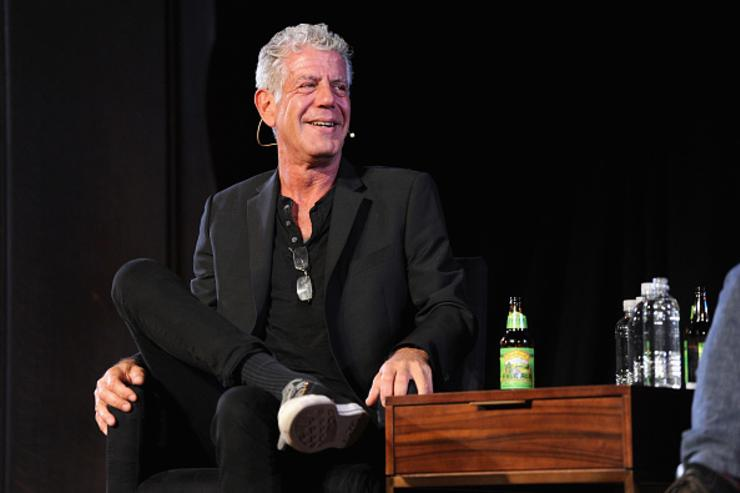 Chef Anthony Bourdain speaks onstage during the panel Anthony Bourdain talks with Patrick Radden Keefe at New York Society for Ethical Culture on October 7, 2017 in New York City.