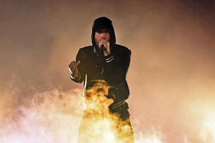 Eminem performs onstage during the 2018 iHeartRadio Music Awards which broadcasted live on TBS, TNT, and truTV at The Forum on March 11, 2018 in Inglewood, California.