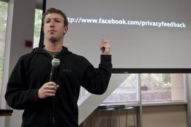 Mark Zuckerberg chief executive officer of Facebook holds a press conference at their headquarters