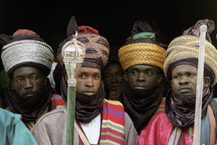 Men are seen in traditional dress at the Emir's Palace on November 29, 2006 in Kano, Nigeria. This is the third day of the Royal Tour to Sierra Leone and Nigeria.
