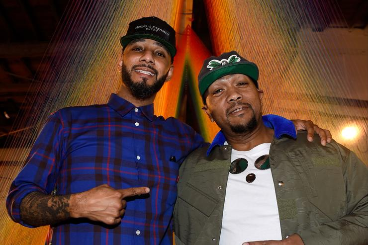 Recording artists Swizz Beatz and Timbaland attend The Dean Collection X BACARDI Untameable House Party on December 4, 2015 in Miami, Florida.
