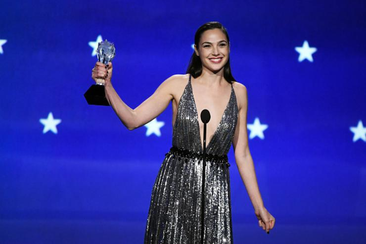 Actor Gal Gadot accepts the SeeHer Award onstage during The 23rd Annual Critics' Choice Awards at Barker Hangar on January 11, 2018 in Santa Monica, California