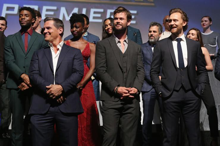 Actors Josh Brolin Chris Hemsworth Tom Hiddleston and cast & crew of 'Avengers Infinity War&#039 attend the Los Angeles Global Premiere for Marvel Studios' Avengers Infinity War