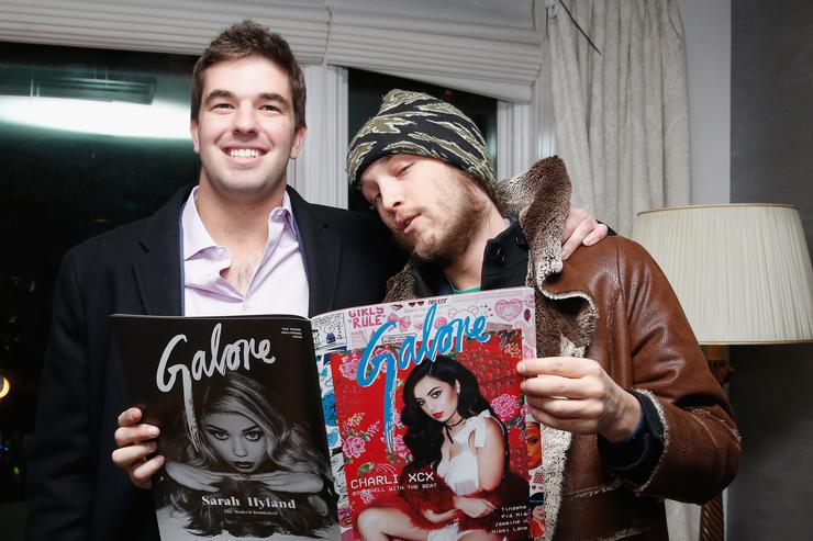 Billy McFarland (L) and Liam McMullan attends Galore X Magnises Fashion Week Valentines Day Dinner at Magnises Townhouse on February 14, 2015 in New York City.