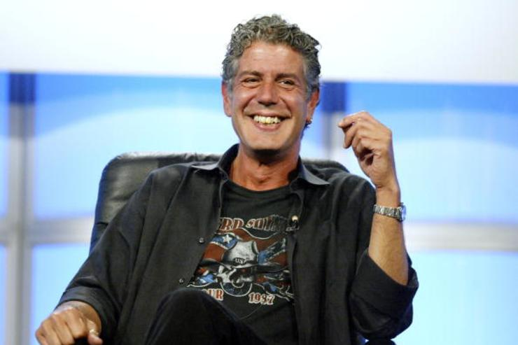 Host Anthony Bourdain attends the panel discussion for 'Anthony Bourdain: No Reservations' during the Discovery Networks' Travel Channel presentation at the 2005 Television Critics Association Summer Press Tour at the Beverly Hilton Hotel on July 16, 2005 in Beverly Hills, California.