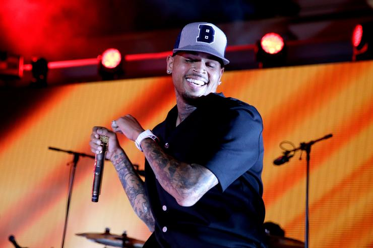 Chris Brown performs onstage during The iHeartRadio Summer Pool Party at Caesars Palace on May 30, 2015 in Las Vegas, Nevada