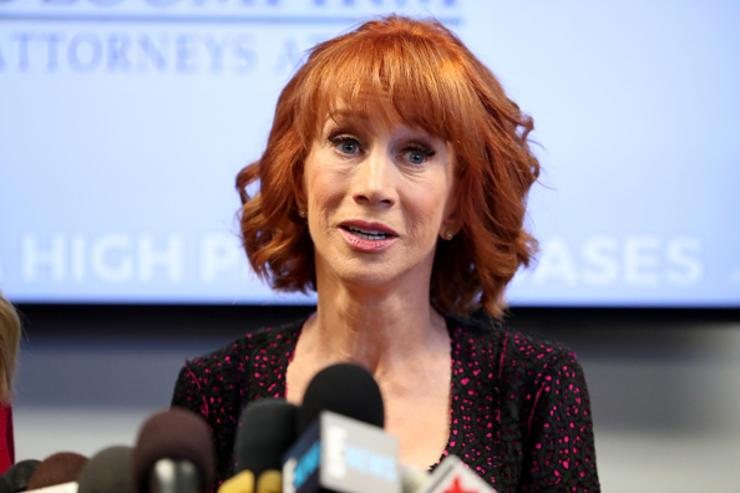 Kathy Griffin speaks during a press conference at The Bloom Firm on June 2, 2017 in Woodland Hills, California. Griffin is holding the press conference after a controversial photoshoot where she was holding a bloodied mask depicting President Donald Trump and to address alleged bullying by the Trump family.