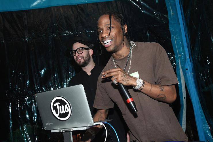Hip-hop artist Travis Scott performs at the Travis Scott / Cactus Jack party at the private residence of Jonas Tahlin, CEO Absolut Elyx on February 11, 2017 in Los Angeles, California.