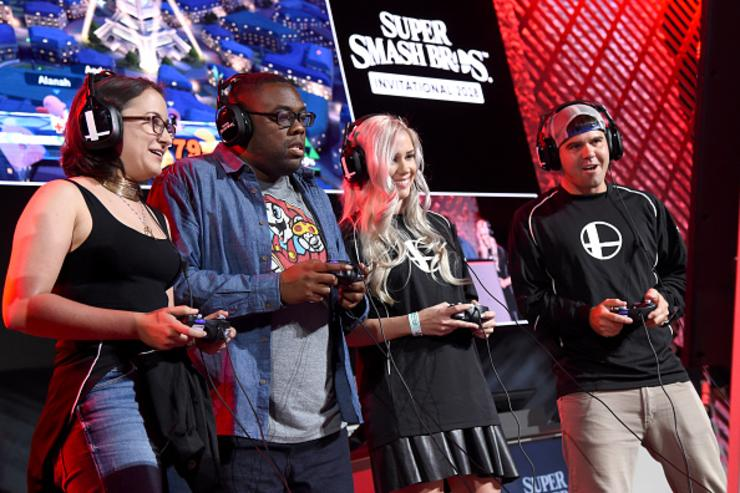Zelda Williams, Andre Meadows, Alanah Pearce and Devinsupertramp play Super Smash Bros. Ultimate onstage at Nintendo's 2018 Super Smash Bros. Invitational at Belasco Theatre on June 12, 2018 in Los Angeles, California.