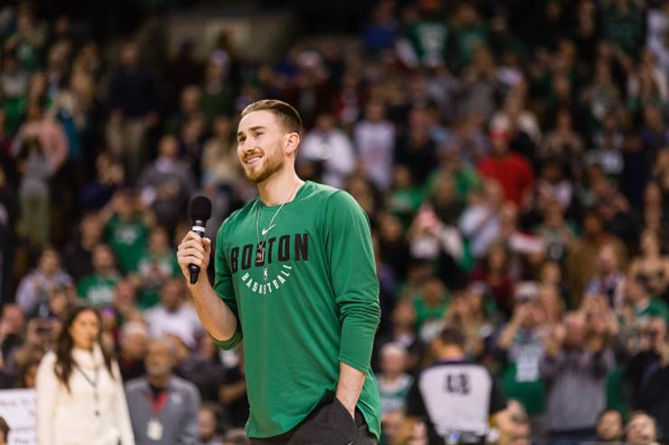 Gordon Hayward #20 of the Boston Celtics addresses the crowd before the game between Boston Celtics and the Washington Wizards at TD Garden on December 25, 2017 in Boston, Massachusetts.