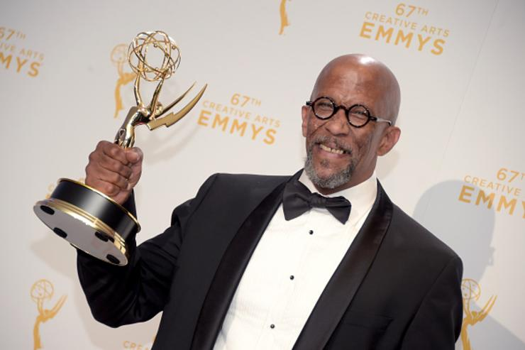 Reg E. Cathey, winner of the award for guest actor in a drama for 'House of Cards,' poses in the press room during the 2015 Creative Arts Emmy Awards at Microsoft Theater on September 12, 2015 in Los Angeles, California.
