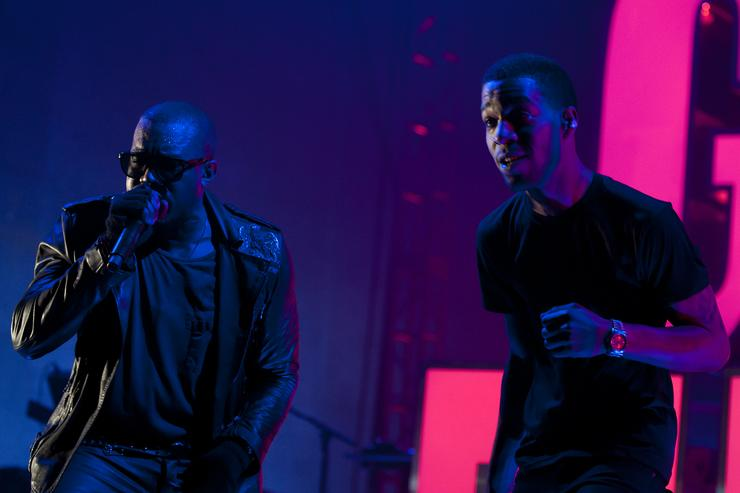 Kanye West and Kid Cudi perform during VEVO Presents: G.O.O.D. Music at VEVO Power Station on March 19, 2011 in Austin, Texas.