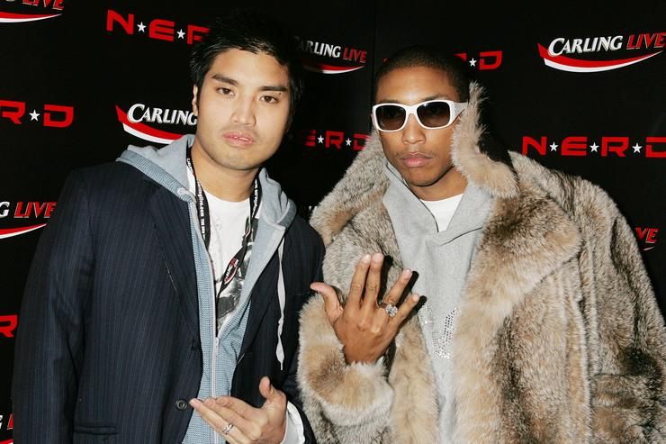 Chad Hugo and Pharrell Williams attend the aftershow party following the final gig this year by N*E*R*D, at Sketch November 22, 2004 in London.