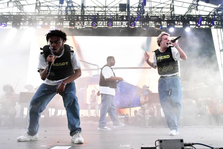 Kevin Abstract and Russell Boring aka JOBA of Brockhampton performs onstage during the 2018 Coachella Valley Music And Arts Festival at the Empire Polo Field on April 21, 2018 in Indio, California