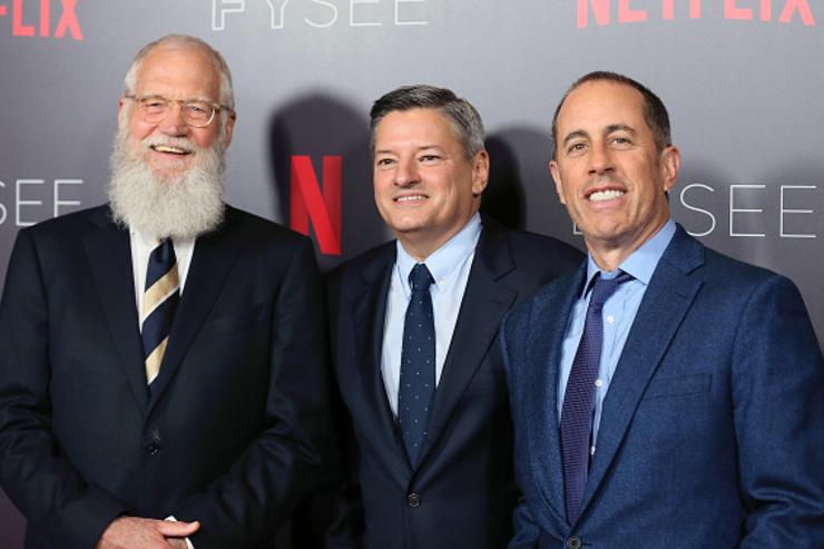 TV host David Letterman, Chief Content Officer for Netflix Ted Sarandos and comedian Jerry Seinfeld pose at the Netflix #FYSEE 'My Next Guest Needs No Introduction With David Letterman' FYC Event at Netflix FYSEE at Raleigh Studios on May 7, 2018 in Los Angeles, California.