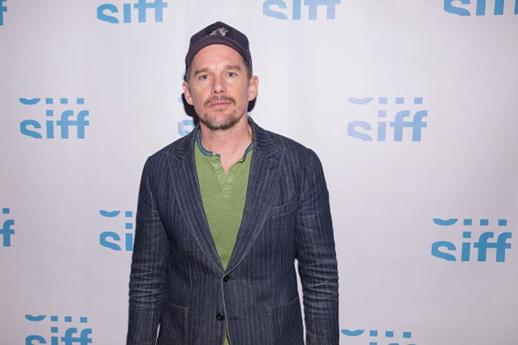 Ethan Hawke arrives at a VIP exclusive reception before receiving the Seattle International Film Festival Award for Outstanding Achievement in Cinema at the Sole Repair Shop on June 8, 2018 in Seattle, Washington.
