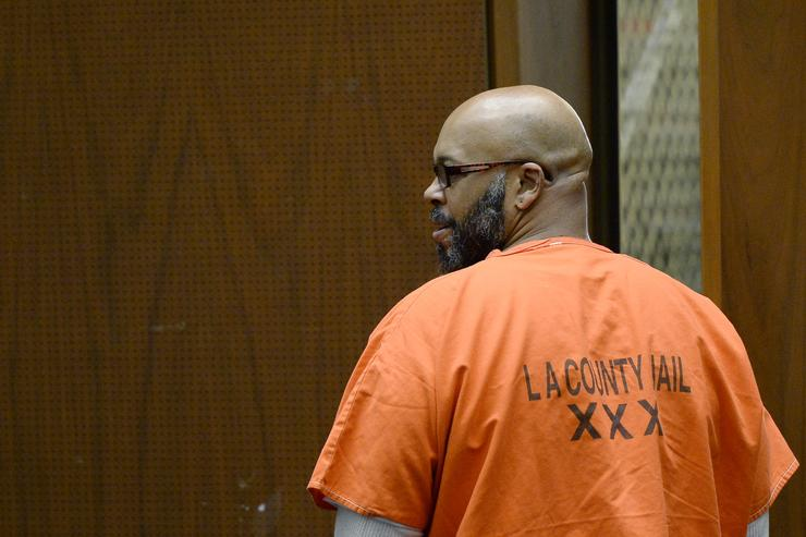 Marion 'Suge' Knight, who is charged with murder, attempted murder and hit-and-run for allegedly running down two men in Compton killing one of them, appears in court for his arraignment at Criminal Courts Building April 30, 2015 in Los Angeles, California. Knight has been ordered to stand trial and is being re-arraigned on murder charges after he was involved in an argument with two men in a Compton restaurant parking lot and struck them with his vehicle in January.