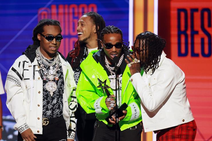 Takeoff, Quavo and Offset of Migos accept the Best Group Award onstage at the 2018 BET Awards at Microsoft Theater on June 24, 2018 in Los Angeles, California.