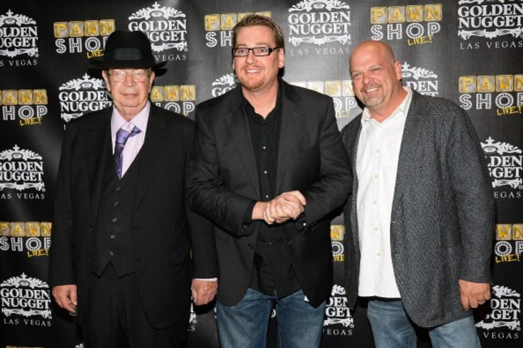 Richard 'The Old Man' Harrison, producer/writer Derek Stonebarger and Rick Harrison arrive at the opening of 'Pawn Shop Live!,' a parody of History's 'Pawn Stars' television series, at the Golden Nugget Hotel & Casino on January 30, 2014 in Las Vegas, Nevada.
