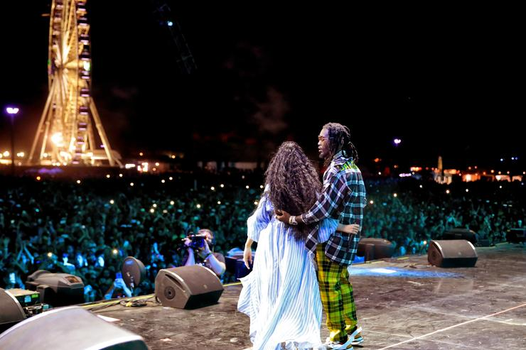 Cardi B (L) and Offset of Migos perform onstage during the 2018 Coachella Valley Music And Arts Festival at the Empire Polo Field on April 22, 2018 in Indio, California.