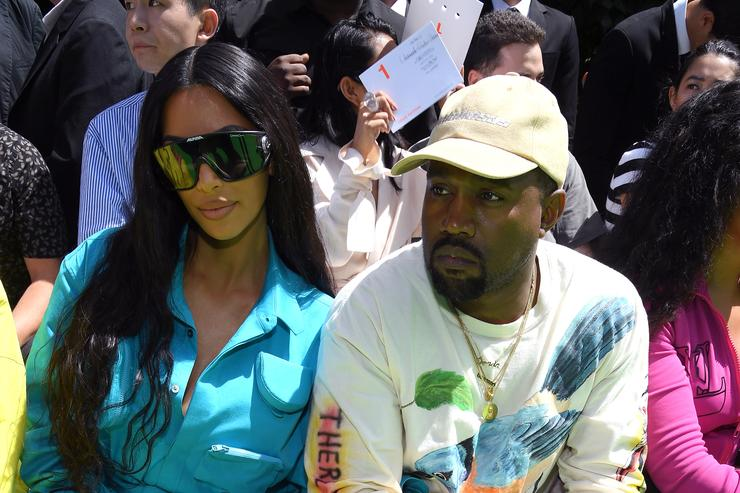 Kim Kardashian and Kanye West attend the Louis Vuitton Menswear Spring/Summer 2019 show as part of Paris Fashion Week on June 21, 2018 in Paris, France