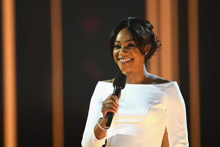 Host Tiffany Haddish speaks onstage during the 2018 MTV Movie And TV Awards at Barker Hangar on June 16, 2018 in Santa Monica, California.