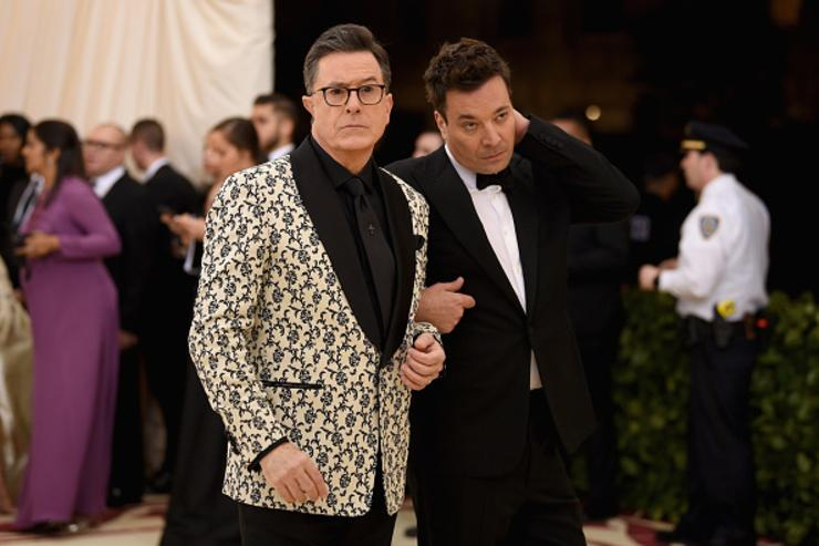 Stephen Colbert and Jimmy Fallon attend the Heavenly Bodies: Fashion & The Catholic Imagination Costume Institute Gala at The Metropolitan Museum of Art on May 7, 2018 in New York City.