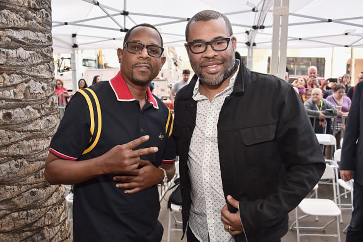 Martin Lawrence and Jordan Peele attend Tracy Morgan's Star Ceremony on the Hollywood Walk of Fame on April 10, 2018 in Los Angeles, California. 309179