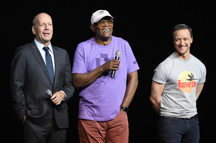 Actors Bruce Willis, Samuel L. Jackson and James McAvoy peaks onstage during CinemaCon 2018 Universal Pictures Invites You to a Special Presentation Featuring Footage from its Upcoming Slate at The Colosseum at Caesars Palace during CinemaCon, the official convention of the National Association of Theatre Owners, on April 25, 2018 in Las Vegas, Nevada